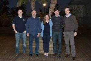 André Peretti, gerente de Tecnologia da Belagrícola, Flavio Andreo, CEO da companhia, Rebeca Lins, superintendente-executiva e os diretores da FH, Ricardo Fachin e Günter Gehrke.